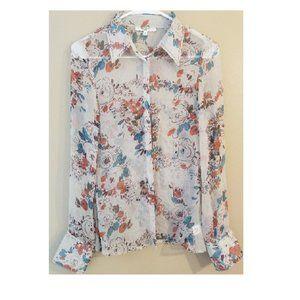 Vertigo Paris silk blouse floral sheer Sz Small